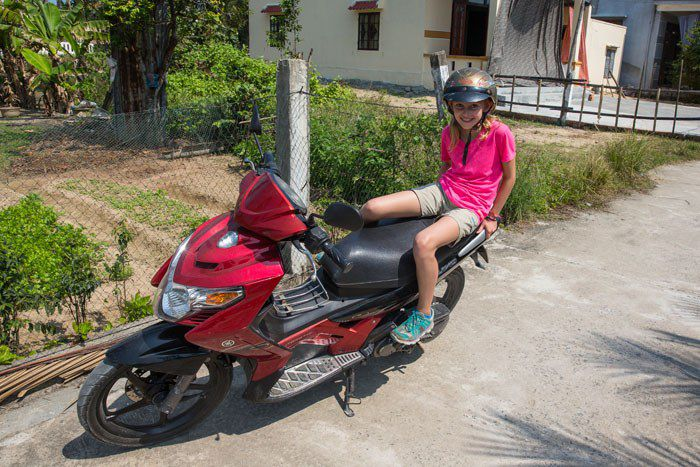 Kara on a Motorbike