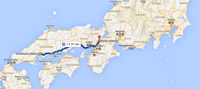 Kyoto to Hiroshima