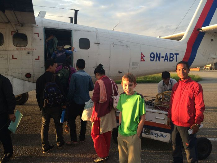 Boarding Nepal Airlines