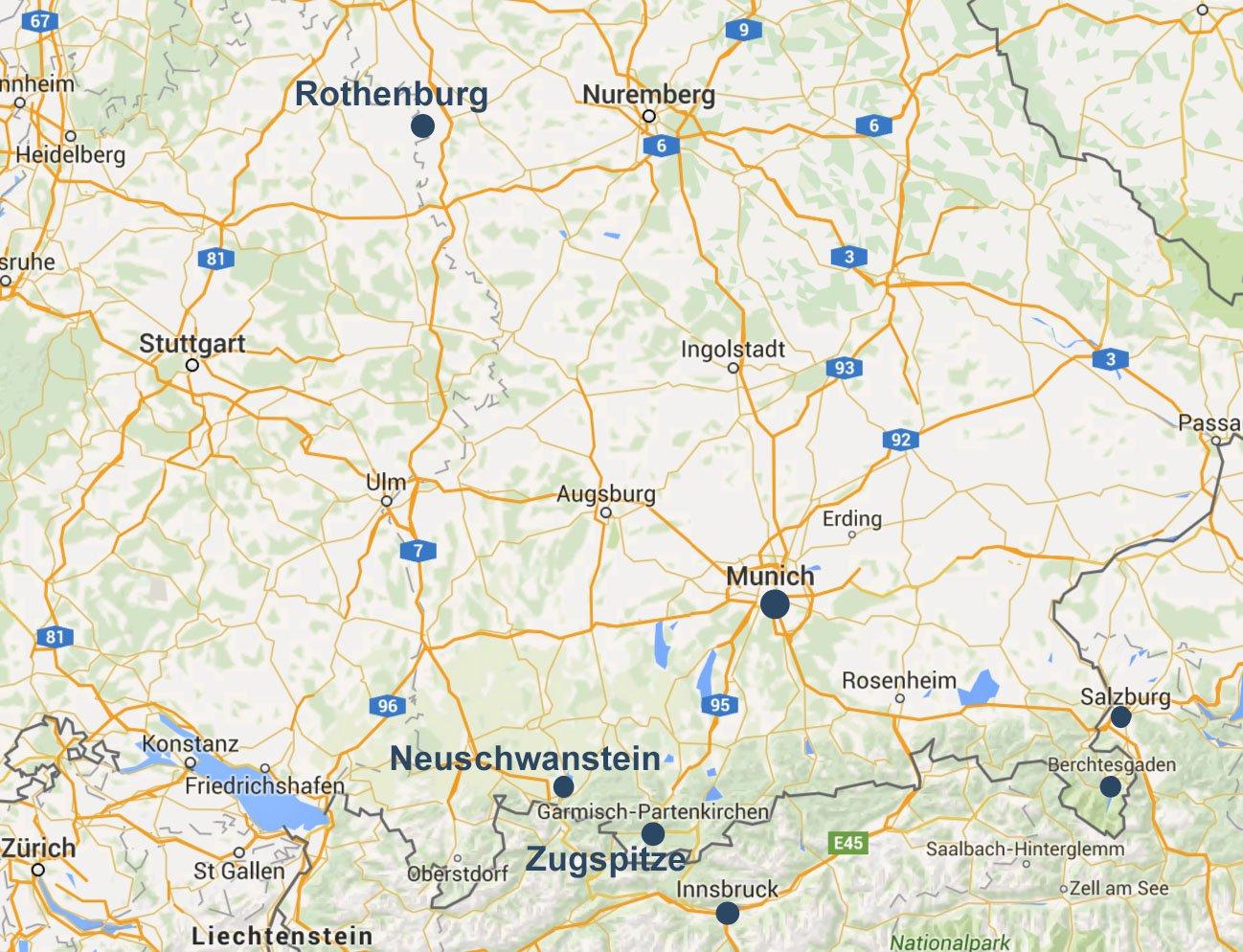 Day Bavaria Itinerary Earth Trekkers - Germany map romantic road