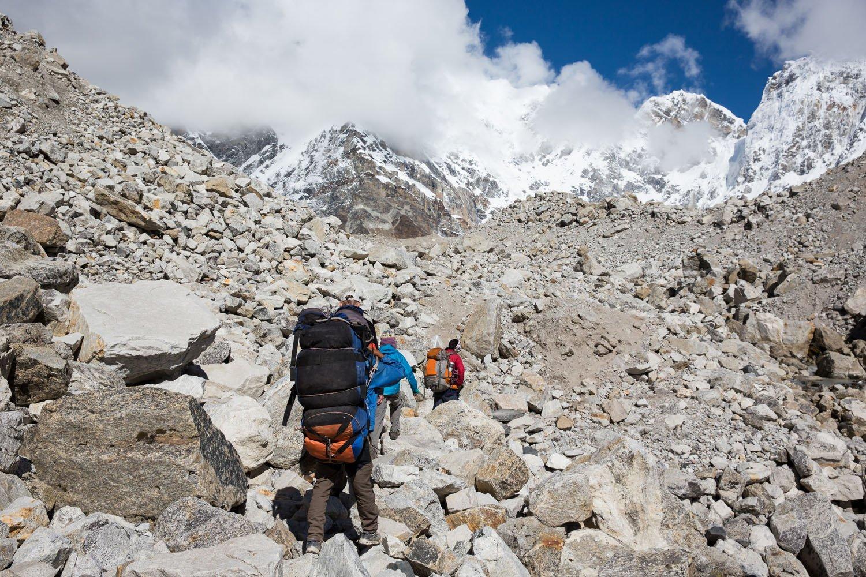 Trekking over boulders