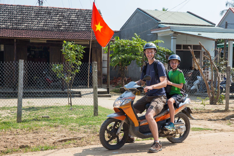 Tim and Tyler Vietnam Motorbike