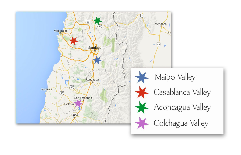 Map of Chilean Wine Regions