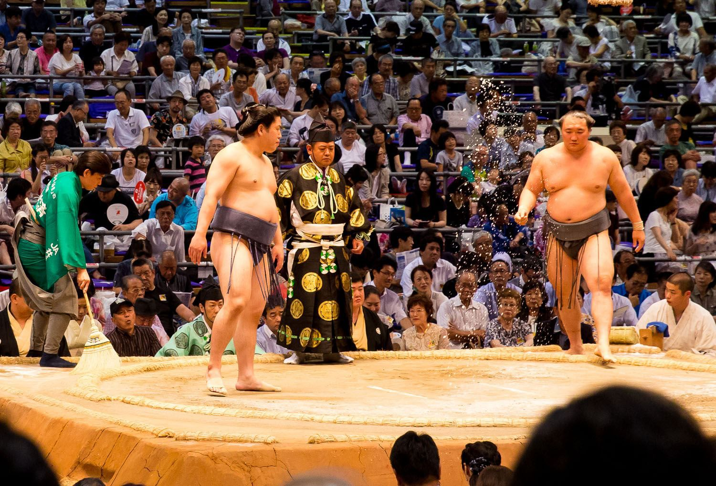 Sumo Wrestler Throwing Salt