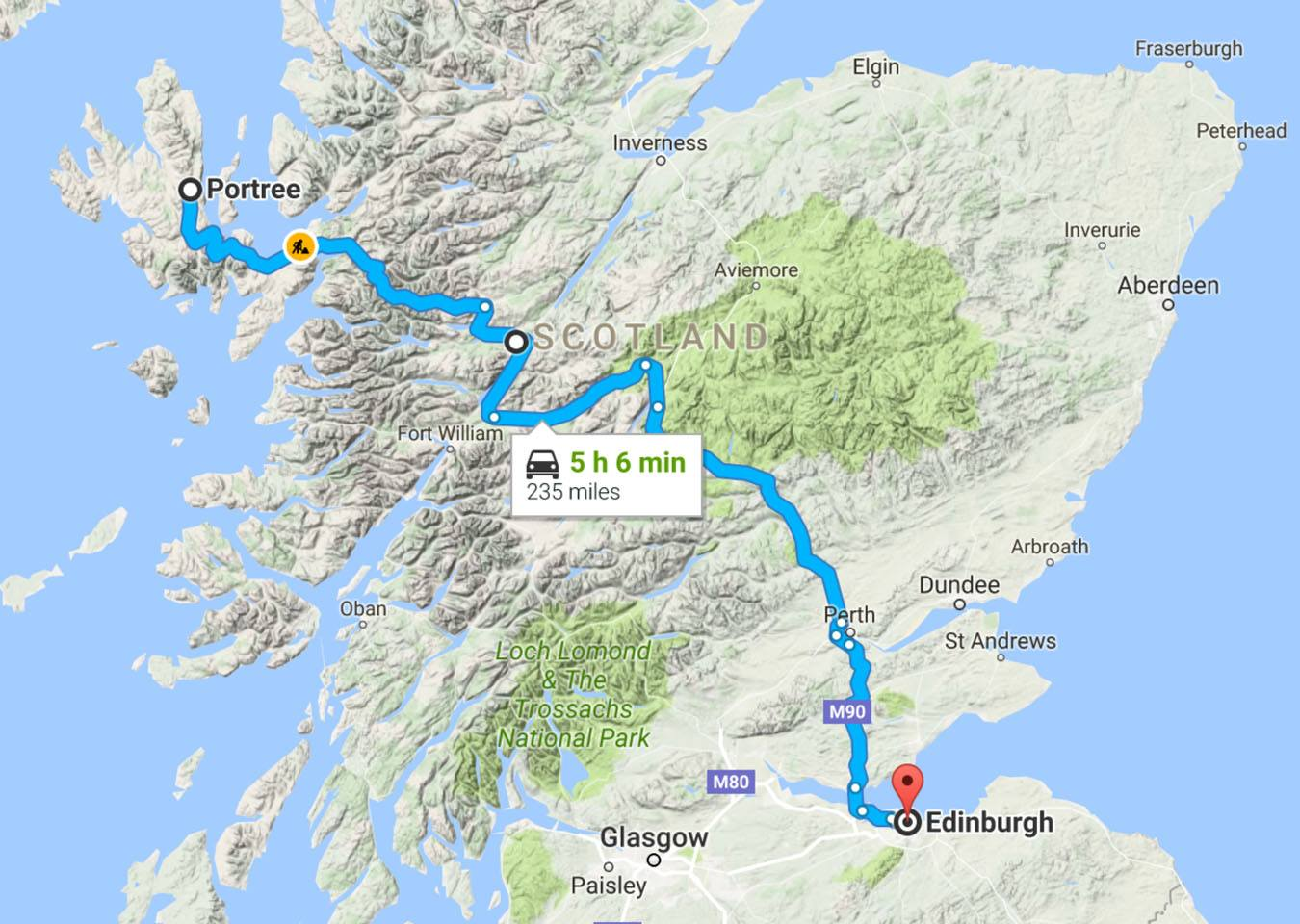 Scotland Road Trip Map