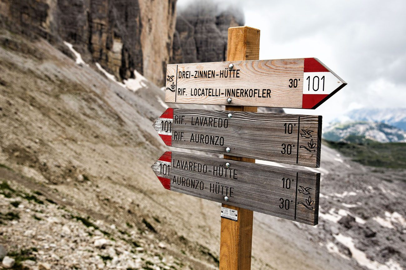Tre Cime Hiking Signs