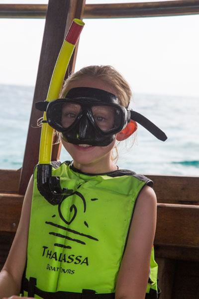 Kara in snorkel gear
