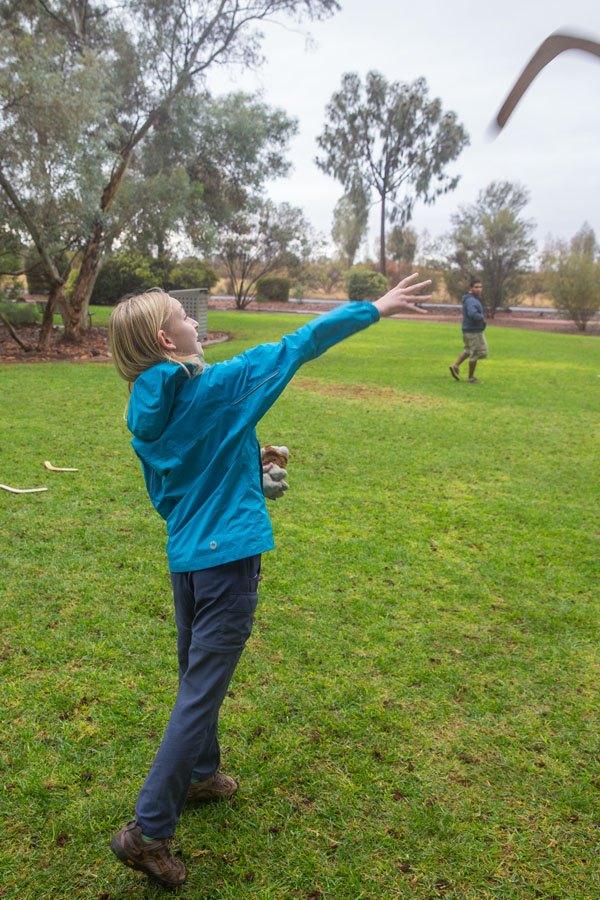 Kara throwing boomerang