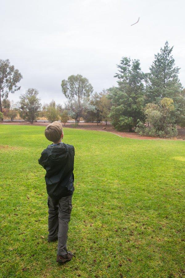 Tyler throwing boomerang