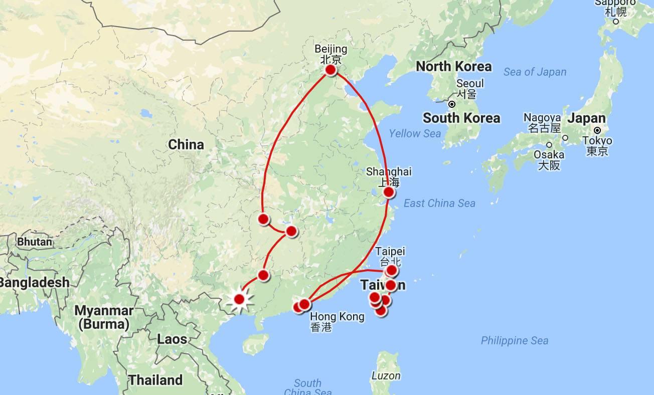 China Itinerary Map