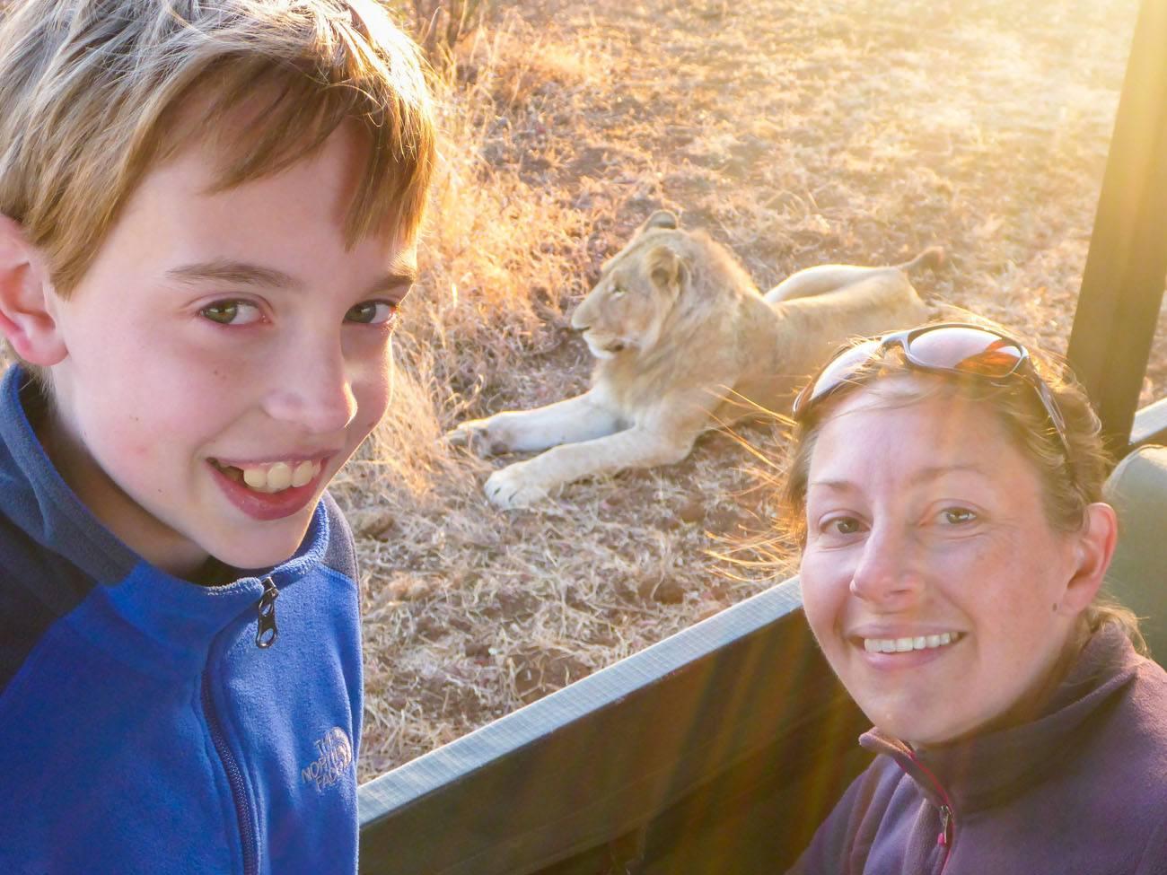 Julie and Tyler on Safari