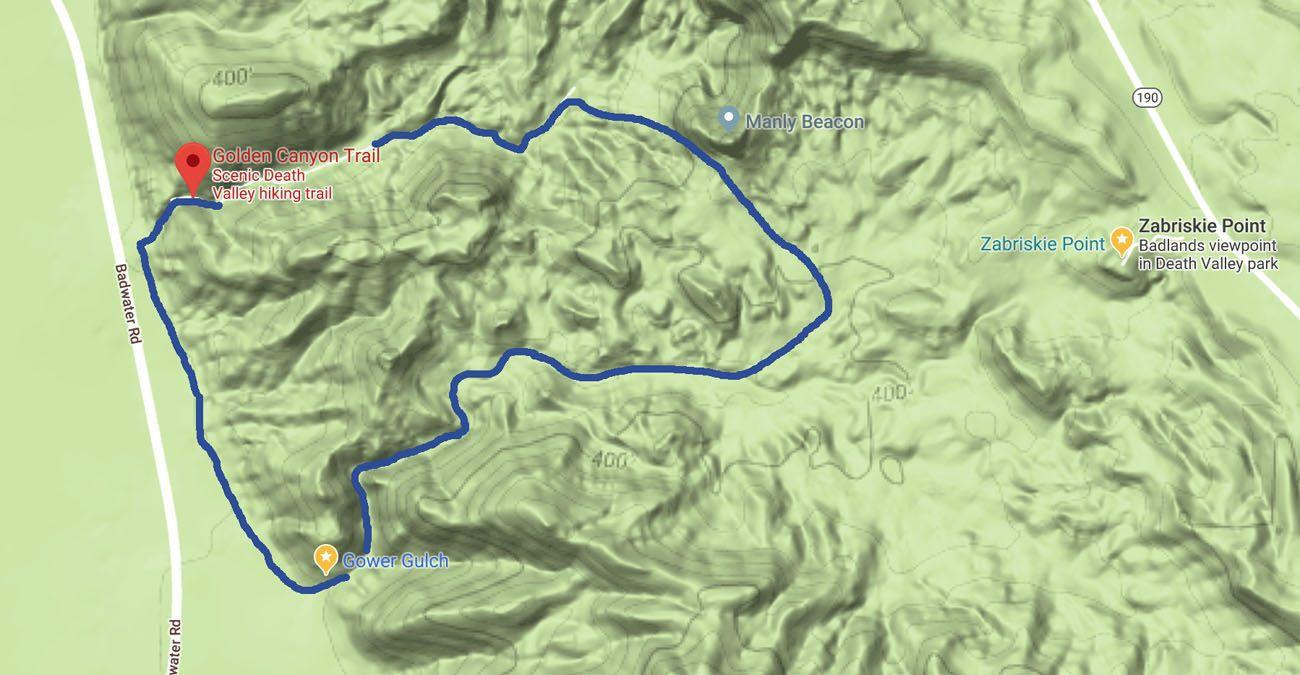 Gower Gulch Loop Map