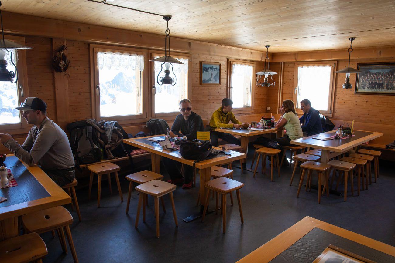 Inside Monchsjochhutte