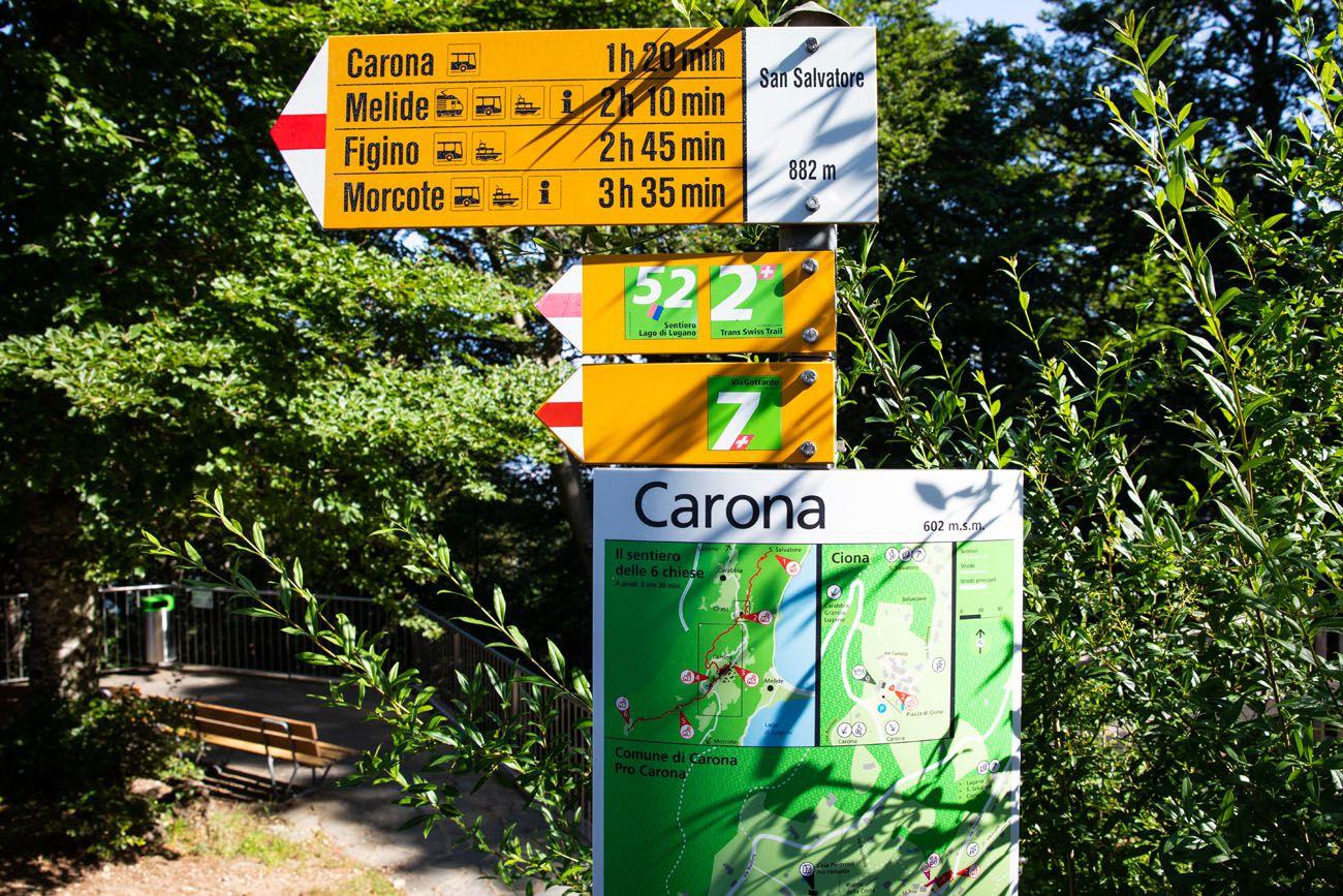 San Salvatore Hiking Sign
