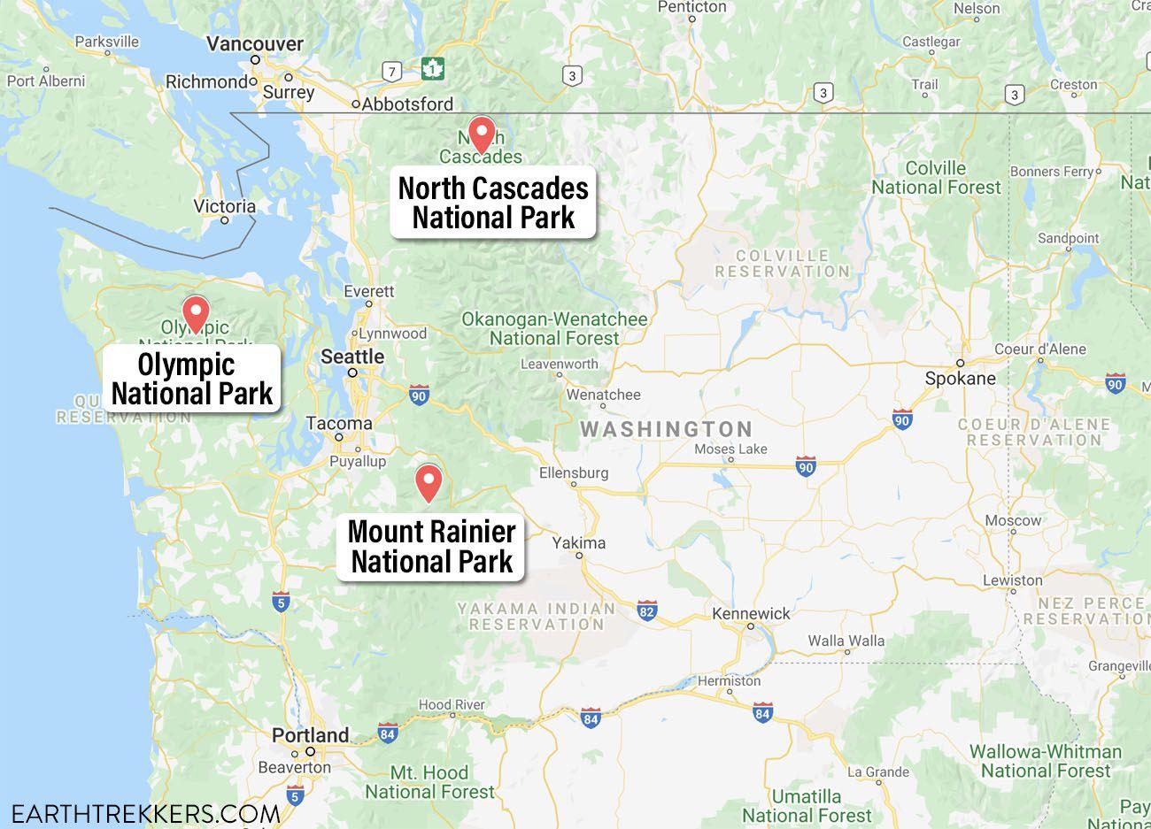 Washington National Parks Map