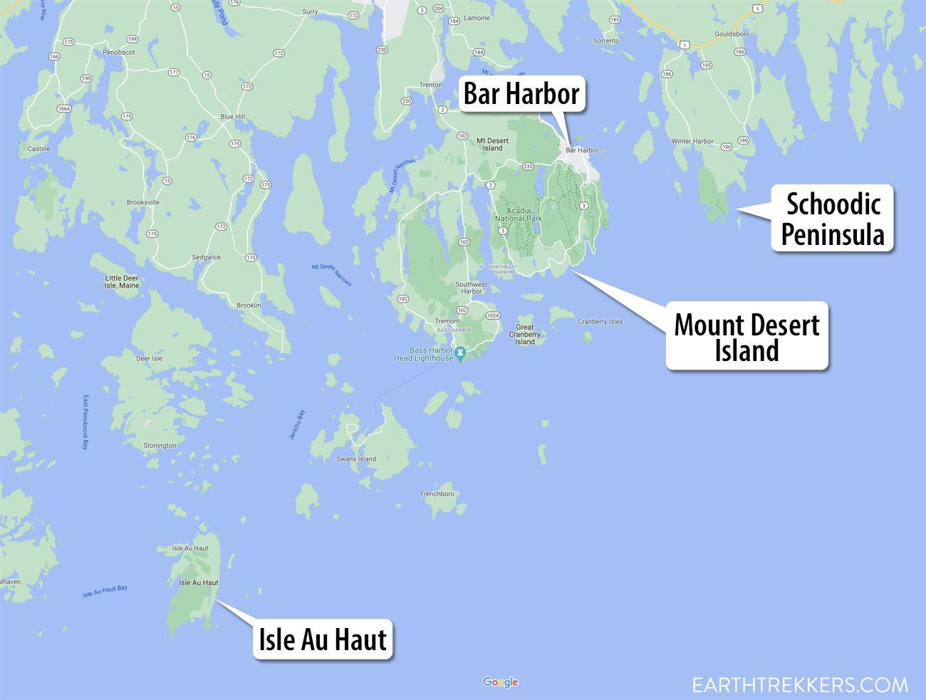 Acadia National Park Map
