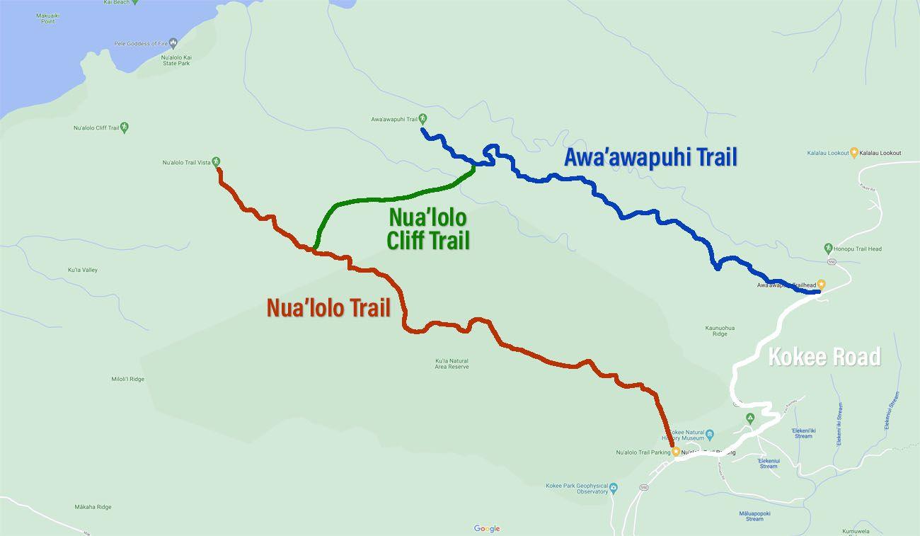 Nualolo Trail Loop Map